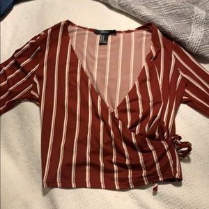 Forever 21 long sleeve cropped striped top